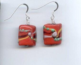 Red Lampwork Pillow Sterling Silver Earrings