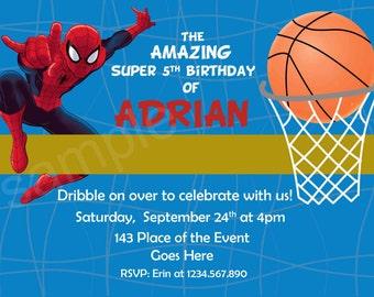 Spiderman Basketball Invitation. Spiderman Invitation. Spiderman Birthday Invitation. Spiderman Printables. Digital (you print)