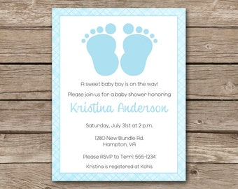 Boy Baby Shower Invitation, Baby Feet Invitation, Baby Feet Shower, Feet Invitation, Baby Feet Invitation, PRINTABLE