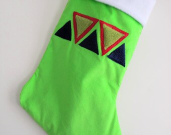 Sale! Triangles Lime Green Modern Christmas Stocking - Personalized Christmas Stocking - Tribal Triangles