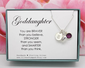 Easter gift for goddaughter gift necklace sterling silver gift for goddaughter necklace sterling silver initial personalized necklace goddaughters birthday graduation gift you are braver than negle Gallery