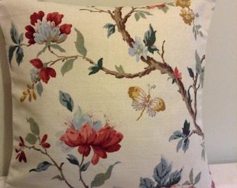 "16"" Handmade contemporary modern cream flowered, butterfly, bird cushion cover,  pillow, scatter cushion"