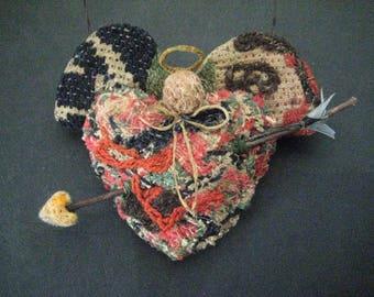 Primitive Folk Art Angel-HEART'S ARROW-Original Design from Vintage Antique Coverlet with arrow
