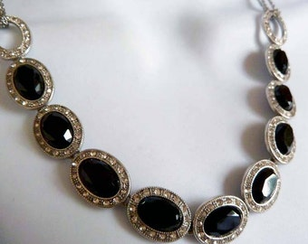 Vintage Black Rhinestone Linked Necklace with Silver Toned Chain and Clasp, Rhinestone Choker Necklace