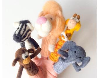 Finger puppet Animals of Africa/puppet wool has fingers wool felted animals of Africa