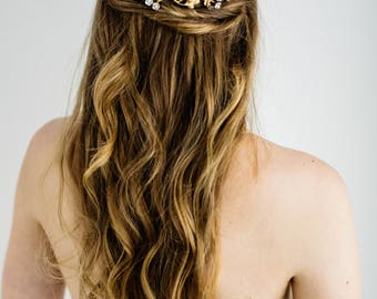 Amelie comb, gold leaf comb, bridal flower comb, leaf comb, gold flower comb, flower headpiece, head piece, bohemian, bridal headpiece #148