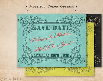 Ornate Scrollwork - Wedding Save the Date Design - 4x5 Postcard - Vintage Antique Art Nouveau - Aqua Red, Yellow Navy, Black Gold