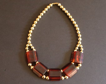 Vintage New Gold Tone Bead & Brown Chunk Necklace