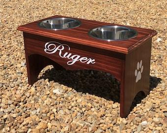 Raised Dog Feeder, Raised Dog Bowl, Personalized Dog Feeder, Personalized Wooden Dog Bowl Stand, Elevated Dog Bowl, Dog Bowl Stand