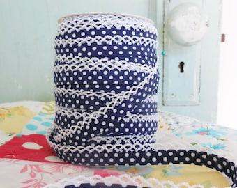 Navy Blue Polka Dot Crochet Bias Tape (No. 15). Sewing Supplies  Double Fold Bias Tape  Quilt Binding  Clothing Supplies  Craft Supplies