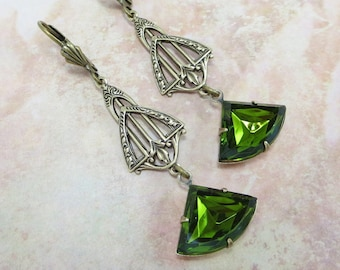 Art Deco Earrings Vintage Glass Olivine Green Ear Dangles