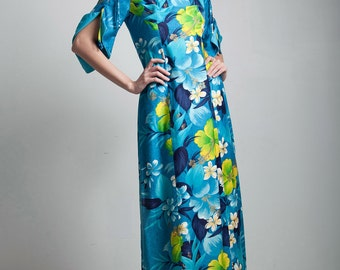 blue hawaiian floral maxi dress 70s vintage cotton split funnel sleeves ankle length SMALL S