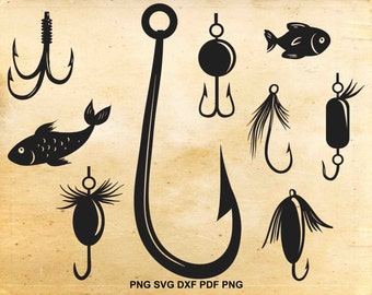 Fishing svg lure, Fishing lure clipart, Fishing hook svg, Hook clip art, Cut files for Silhouette, Svg files for Cricut, Fish clipart