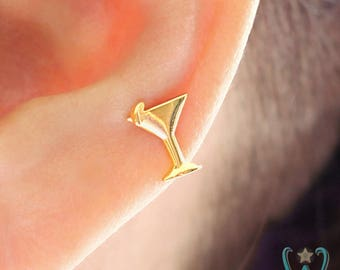 14K Small Martini Glass - Stud Earring - Flat Back Earring - Cartilage Earring