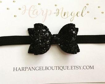Black Glitter Sparkle Bow ~3 sizes~ Headband or Clip Newborn / Baby / Girls / Adult