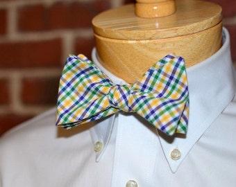 Mardi Gras Tattersall Bow Tie~Mens Self Tie Bow Tie~Mens Pre Tied~Anniversary Gift~Mens Gift~Cotton Bow Tie~Mardis Gras