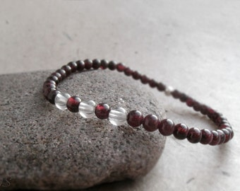 Garnet Bracelet, January Birthstone Gift, Stacking Red Gemstone Bracelet, Dainty Garnet Jewelry, Base Chakra Bracelet, Fertility Love Stone