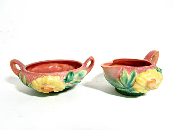 Roseville Pottery Peony, Creamer and Sugar Bowl, Pink Blue Green Yellow, American Art Pottery, Ohio Art Pottery, Zanesville Ohio