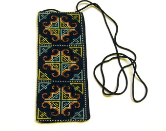 Cross Stitch Embroidered Eye Glass Case Pouch (brown yellow blue white)