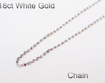 18ct 18K 750 Solid White Gold Chain Necklace for Pendant Jewellery - PS49
