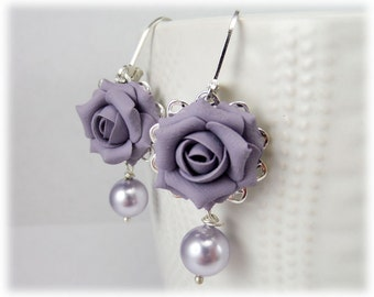 Purple Rose Pearl Earrings - Silver or Antique Brass Purple Rose Pearl Jewelry, Purple Flower Earrings