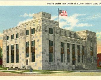 Ada Oklahoma Post Office & Courthouse Vintage Postcard (unused)