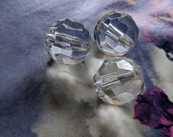 30 Pieces  Large  17 mm Crystal  Clear Faceted  Round Lucite Acrylic Beads