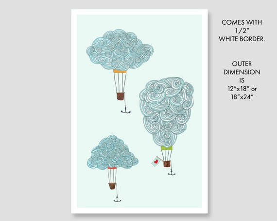 """hot air balloons, clouds, drawing, abstract, modern, contemporary, minimalist, wall art, large art, large wall art, art - """"Float on a Cloud"""""""