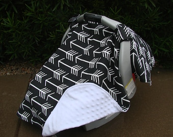 Baby Car Seat Cover - Baby Car Seat Canopy - Black and White Canopy - Arrow Canopy - Tribal Canopy - Unisex Baby Canopy - Baby Shower Gift