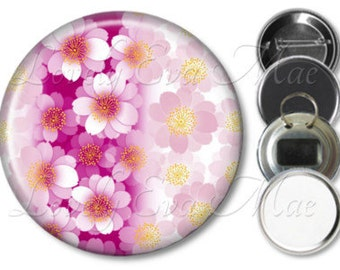 Japanese Floral Mirror, Floral Refrigerator Magnet, Bottle Opener Key Ring, Pin Back Button, Makeup Mirror, Pink and Yellow
