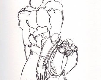 male figure, ink line drawing, Abstract Figure V May 2017