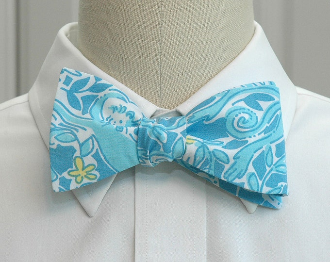 Men's Bow Tie, Kiss The Cook Lilly monkey print, blue bow tie, Kentucky Derby bow tie, monkey bow tie, wedding bow tie, cute zoo bow tie,