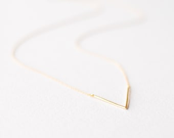 Dainty Geometric Triangle Necklace in Gold