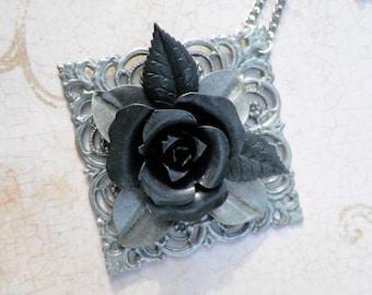 Black Rose Filigree Necklace