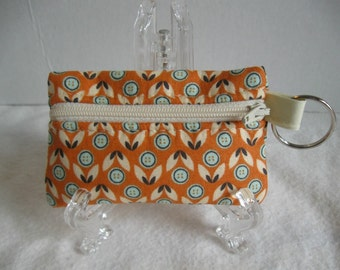 Coin Purse Key Chain  - Orange Floral Change Purse - Floral Coin Purse Key Ring  - Orange Earbud Holder - Padded Ear Bud Case
