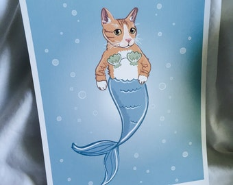 Orange Cat Mermaid - Eco-Friendly 8x10 Print
