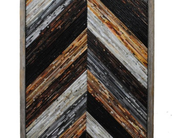 large Recycled Magazine wall art- made from recycled magazines & rustic wood frame, modern sculpture, neutral, recycled, chevron, wall art