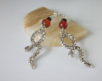 Snake Earrings, Silver Snakes, Red Agate, Unisex Jewelry, Mens Dangle Earrings, Serpent, Rattle Snake, Southwestern Earrings