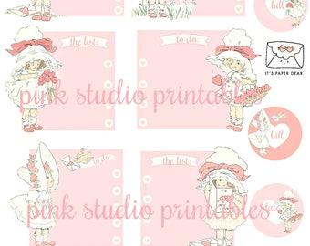 Little Sweeties 01,   printable planner sticker sheet, vintage style, vintage ephemera