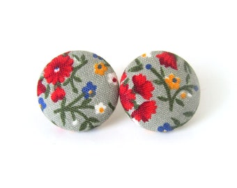Romantic gift for her - vintage style button earrings - large stud earrings - floral earrings - statement jewelry - nickel free studs