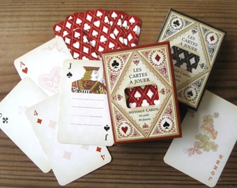 New Message Card Set in Box by Tokyo Antique Looks Like Playing Cards Red or Black Design (1 Deck)