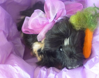 Handmade Animal Sculpture Needle Felted Guinea Pig by Fiber Artist Gerry / poseable
