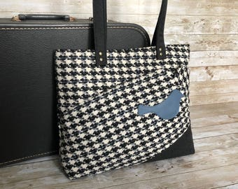 suit purse, upcycled suit coat, suit tote bag, recycled bag, upcycled suit jacket, eco friendly purse, black and white houndstooth,