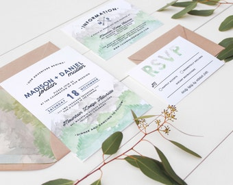 """Rustic Mountain """"MADISON"""" Watercolor Wedding Invitation Set in Navy Blue and Sage // Digital or Printed //"""
