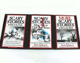 3 Book Set: SCARY STORIES to Tell in the Dark by Alvin Schwartz Box Original Art Winter Chills! 80's RARE
