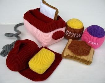 Crochet Pattern - TOASTER- Toys / Playfood - PDF  (00433)