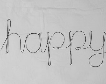 HAPPY Wire Word Wall Hanging Art