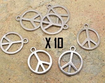10 charms in peace and love, peace, love silver metal