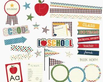school clip art clipart digital - Back To School Digital Clipart - BUY 2 GET 2 FREE