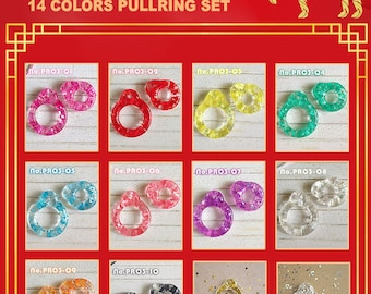 Happy Chinese New Year Glitter Pull Ring  12 Colors Set プルリング ブライス